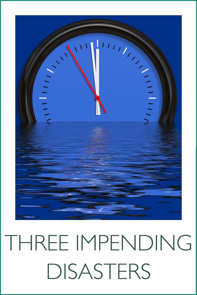 clock sinking into sea
