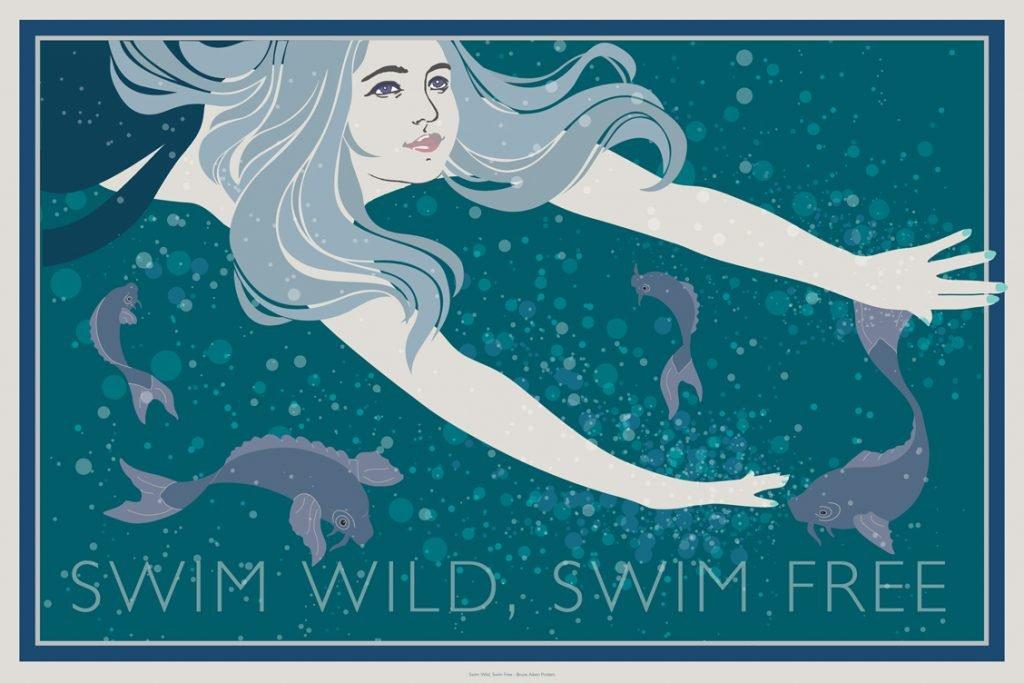 poster swim wild swim free