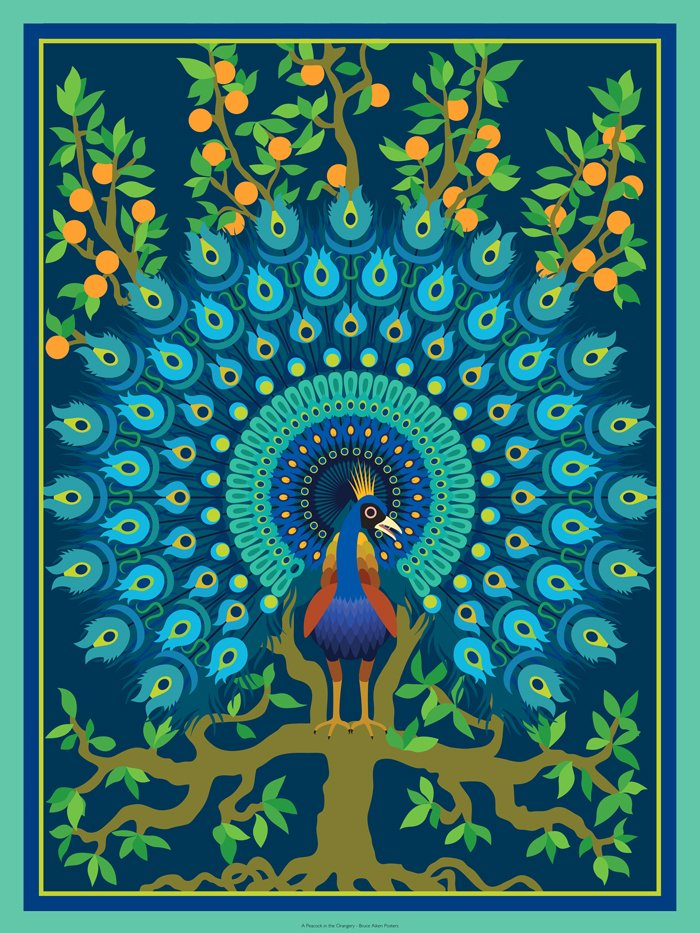 poster of a peacock in the orangery