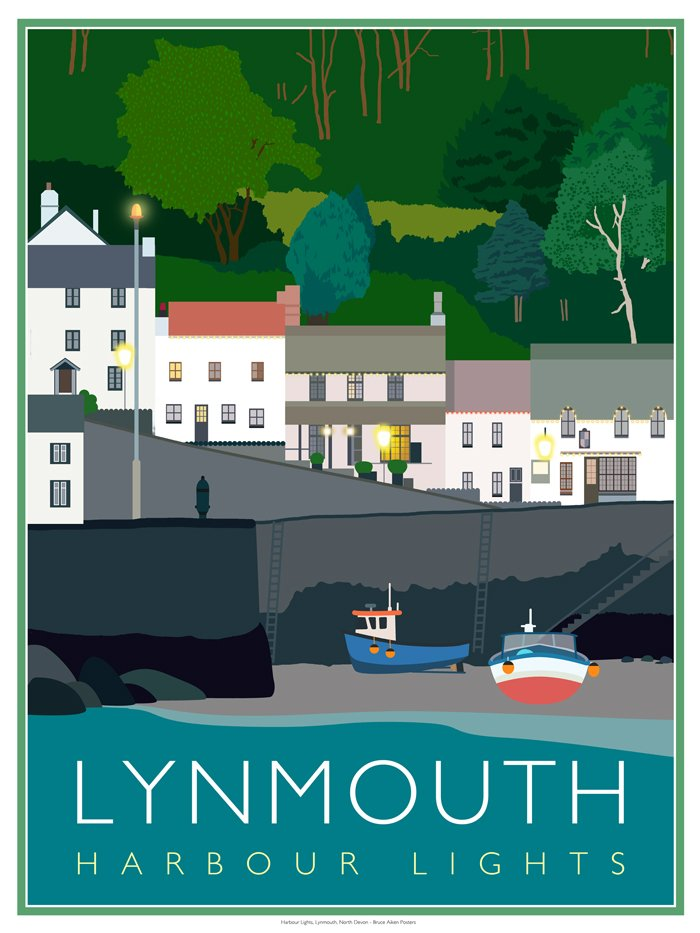 poster of lynmouth harbour lights