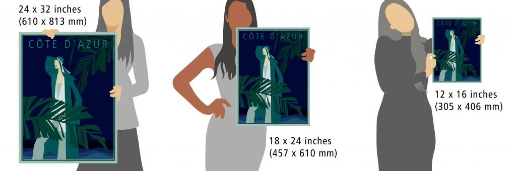 SIzes for cote d'azur poster